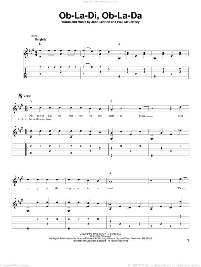 Ob-La-Di, Ob-La-Da sheet music for guitar solo by The Beatles, John Lennon and Paul McCartney, intermediate skill level