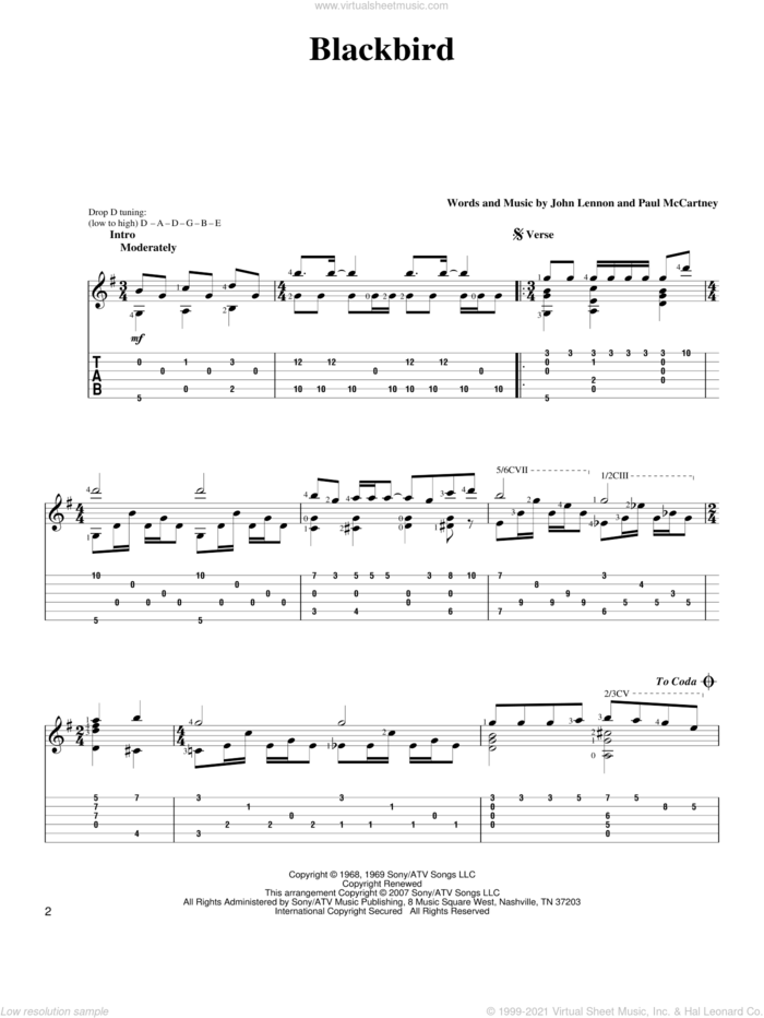 Blackbird sheet music for guitar solo by The Beatles, John Lennon and Paul McCartney, intermediate skill level