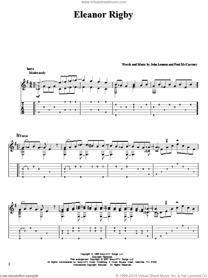 Eleanor Rigby sheet music for guitar solo by The Beatles, John Lennon and Paul McCartney, intermediate skill level