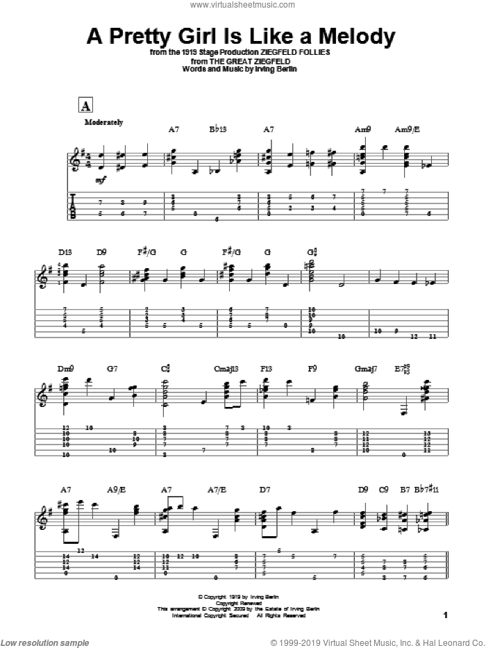 A Pretty Girl Is Like A Melody sheet music for guitar solo by Irving Berlin, intermediate skill level