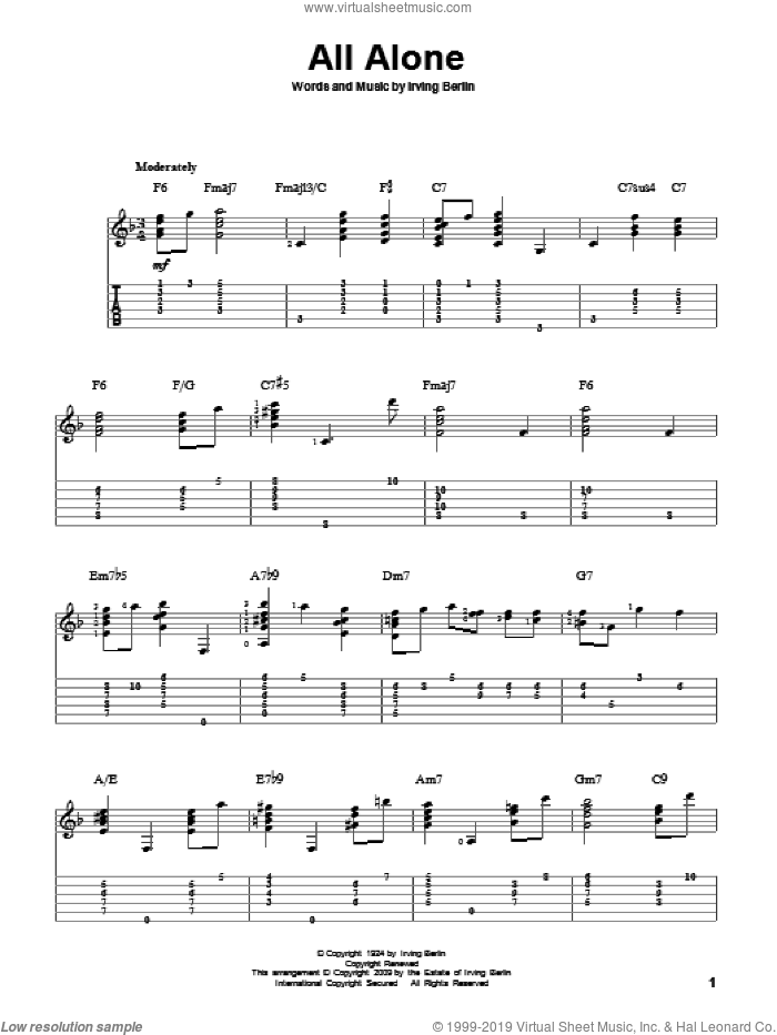 All Alone sheet music for guitar solo by Irving Berlin, Al Jolson, Alice Faye and Grace Moore and Oscar Shaw, intermediate skill level
