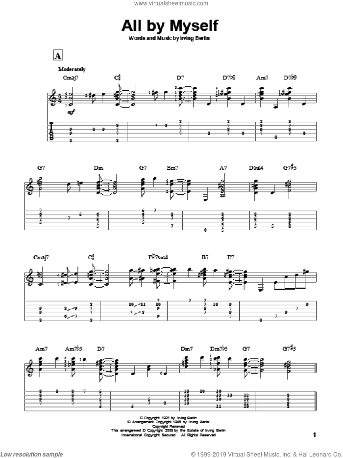 All By Myself sheet music for guitar solo by Irving Berlin, Bing Crosby, Frank Crumit and Ted Lewis, intermediate skill level