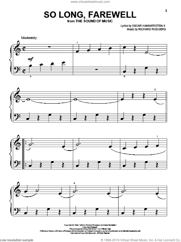 So Long, Farewell sheet music for piano solo (big note book) by Rodgers & Hammerstein, The Sound Of Music (Musical), Oscar II Hammerstein and Richard Rodgers, easy piano (big note book)