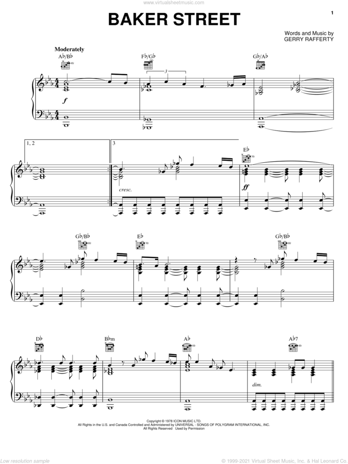Baker Street sheet music for voice, piano or guitar by Gerry Rafferty and Foo Fighters, intermediate skill level
