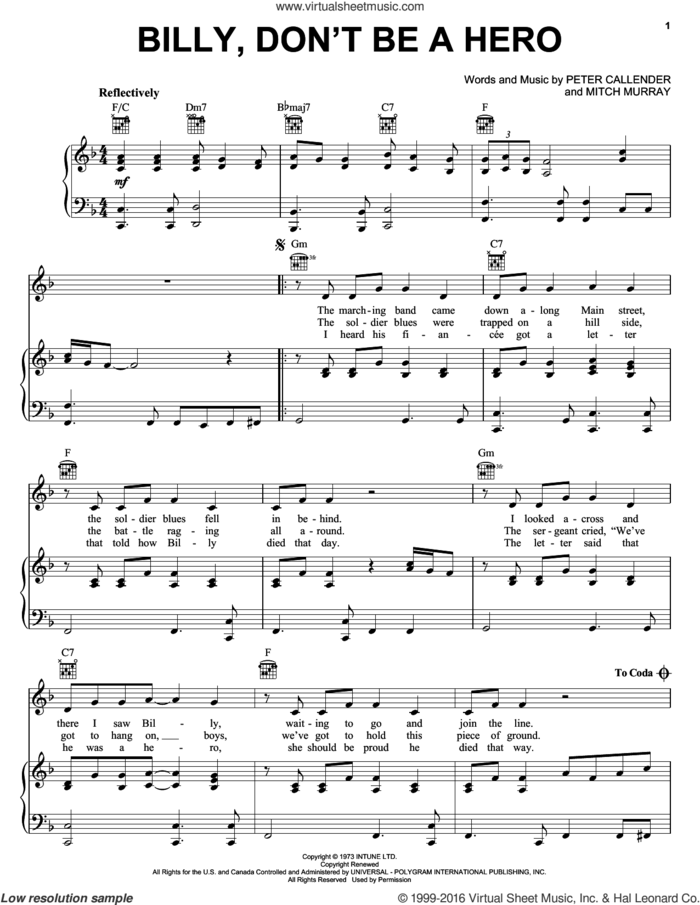 Billy, Don't Be A Hero sheet music for voice, piano or guitar by Bo Donaldson & The Heywoods, Paper Lace, Mitch Murray and Peter Callender, intermediate skill level