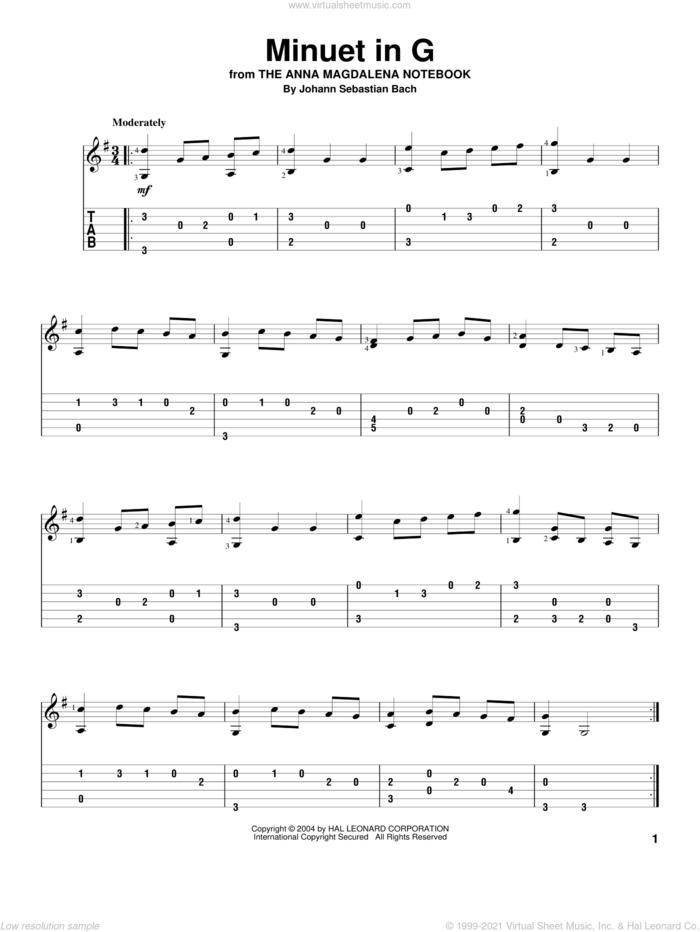 Minuet In G sheet music for guitar solo by Johann Sebastian Bach, classical wedding score, intermediate skill level