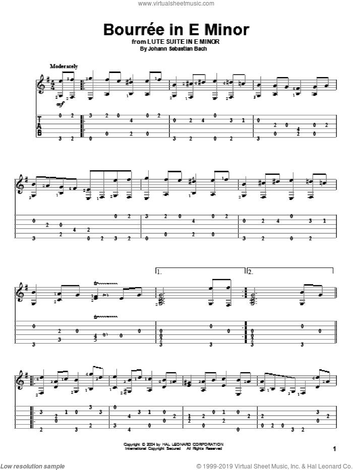 Bourree sheet music for guitar solo by Johann Sebastian Bach, classical score, intermediate skill level