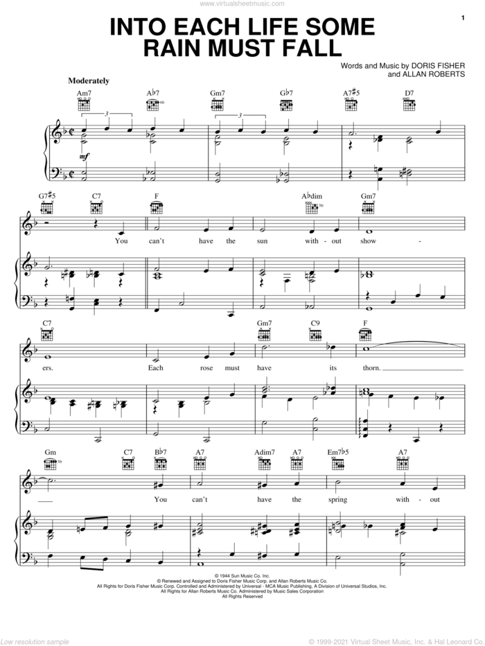 Into Each Life Some Rain Must Fall sheet music for voice, piano or guitar by Ella Fitzgerald, The Ink Spots, Allan Roberts and Doris Fisher, intermediate skill level