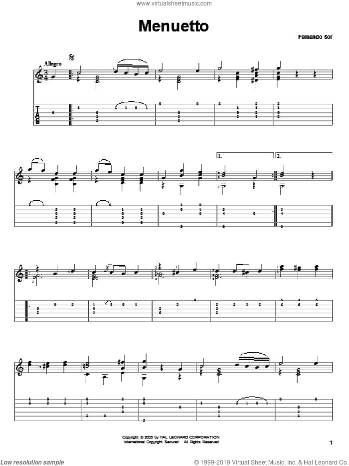 Menuetto sheet music for guitar solo by Fernando Sor, classical score, intermediate skill level