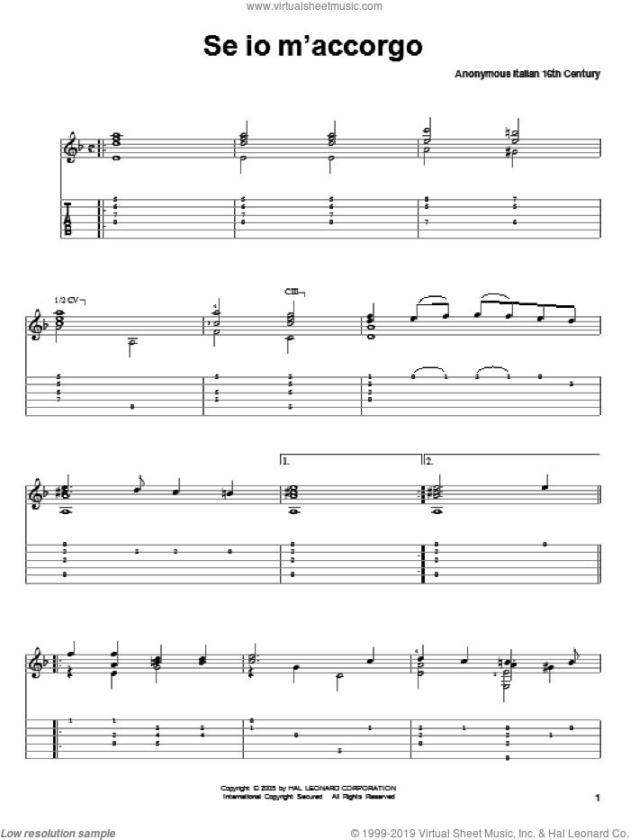 Se Io M'accorgo sheet music for guitar solo  and Anonymous Italian 16th Century, classical score, intermediate skill level