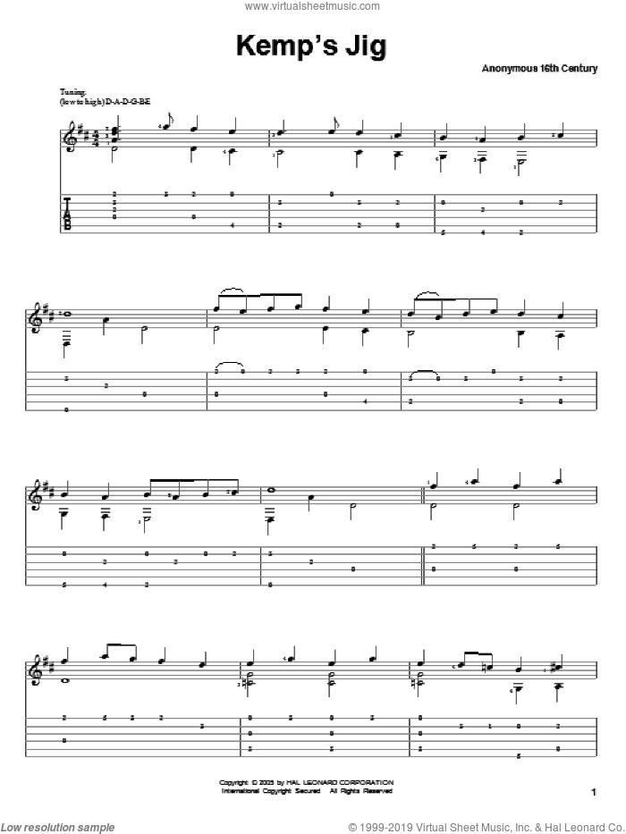 Kemp's Jig sheet music for guitar solo, classical score, intermediate skill level