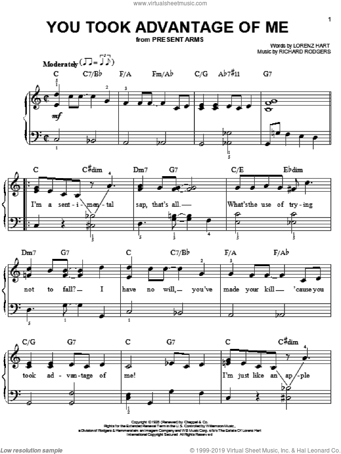 You Took Advantage Of Me sheet music for piano solo by Rodgers & Hart, Lorenz Hart and Richard Rodgers, easy skill level