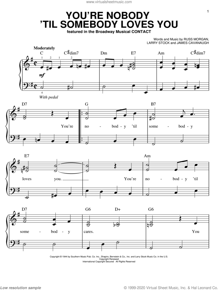 You're Nobody 'Til Somebody Loves You sheet music for piano solo by Dean Martin, Frank Sinatra, James Cavanaugh, Larry Stock and Russ Morgan, easy skill level