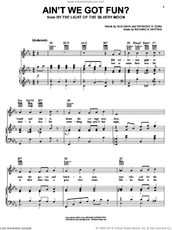 Ain't We Got Fun? sheet music for voice, piano or guitar by Doris Day, Gus Kahn, Raymond B. Egan and Richard A. Whiting, intermediate skill level