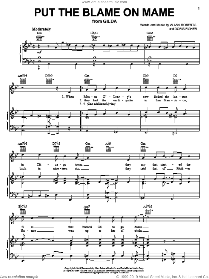 Put The Blame On Mame sheet music for voice, piano or guitar by Rita Hayworth, Allan Roberts and Doris Fisher, intermediate skill level