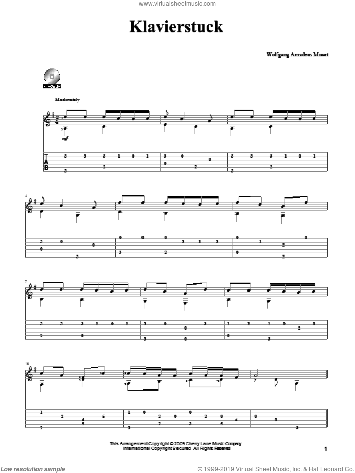 Piano Piece (Klavierstuck) sheet music for guitar solo by Wolfgang Amadeus Mozart and Mark Phillips, classical score, intermediate skill level