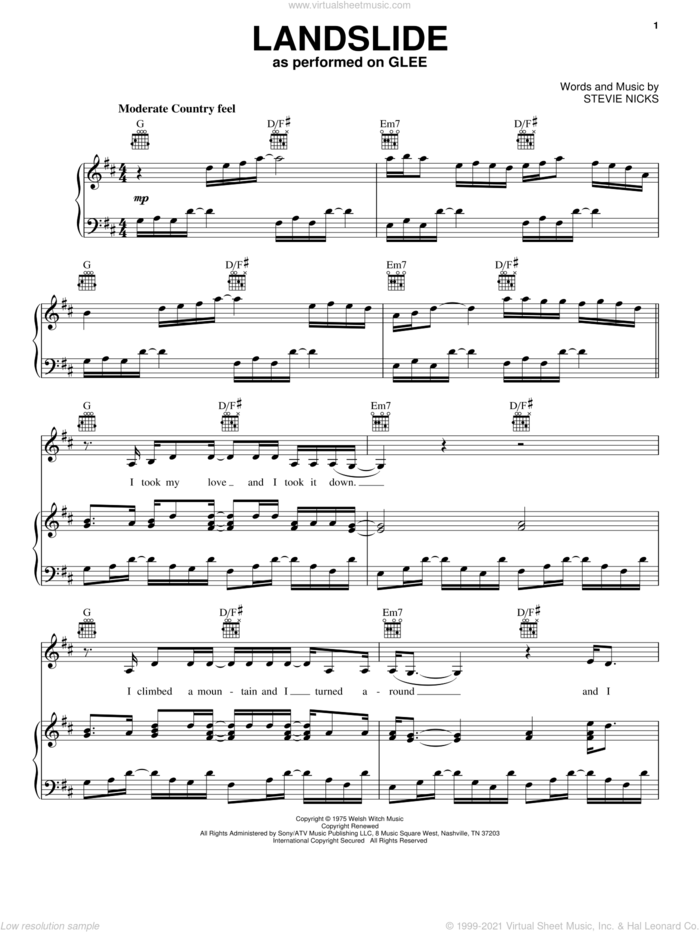Landslide sheet music for voice, piano or guitar by Glee Cast, Dixie Chicks, Fleetwood Mac, Gwyneth Paltrow, Miscellaneous, The Chicks, The Smashing Pumpkins and Stevie Nicks, intermediate skill level