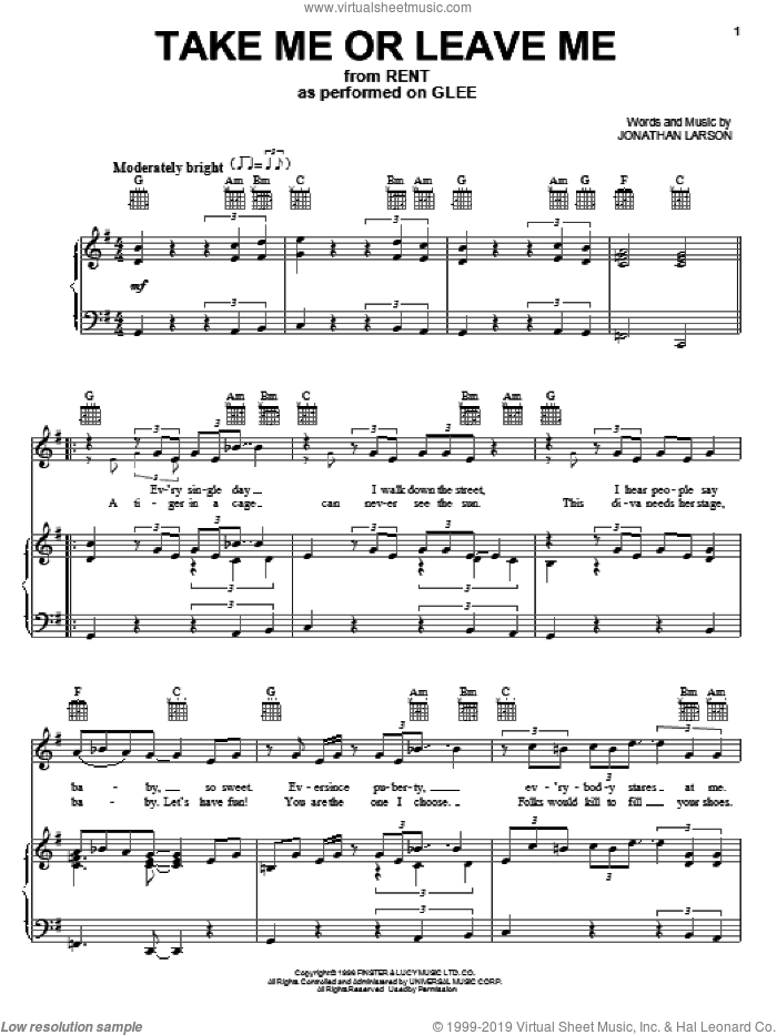 Take Me Or Leave Me sheet music for voice, piano or guitar by Glee Cast, Miscellaneous, Rent (Musical) and Jonathan Larson, intermediate skill level