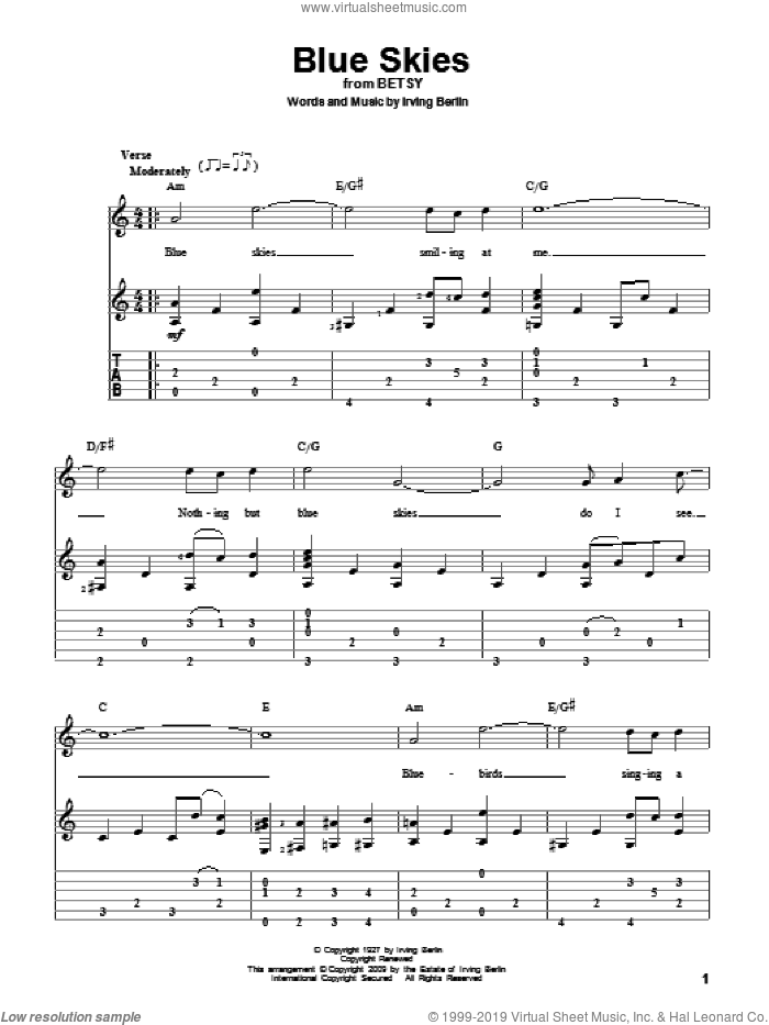 Blue Skies sheet music for guitar solo by Irving Berlin and Willie Nelson, intermediate skill level