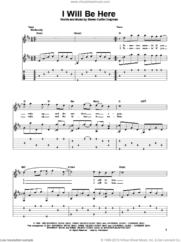 I Will Be Here sheet music for guitar solo by Steven Curtis Chapman, wedding score, intermediate skill level