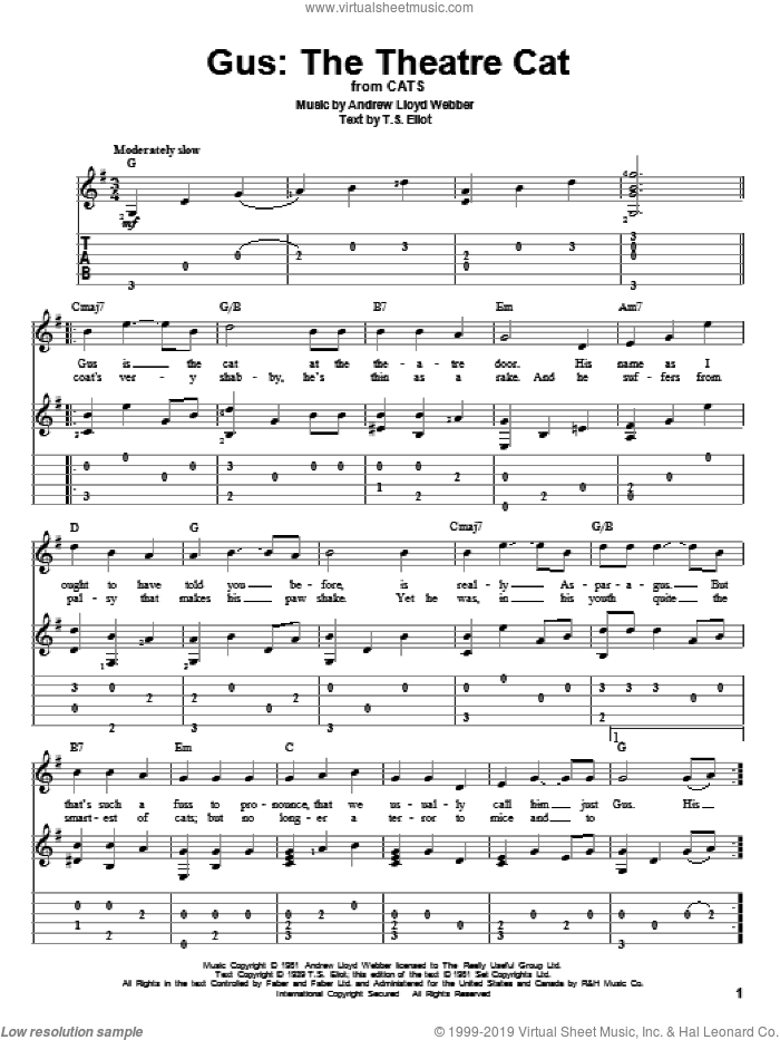 Gus: The Theatre Cat (from Cats) sheet music for guitar solo by Andrew Lloyd Webber, Cats (Musical) and T.S. Eliot, intermediate skill level