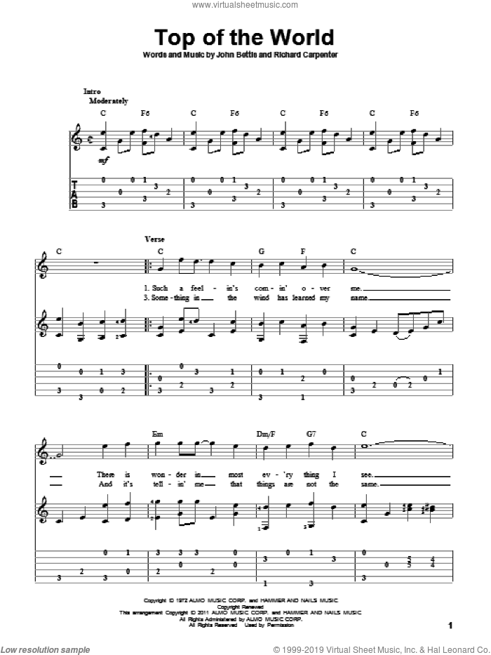 Top Of The World sheet music for guitar solo by Carpenters, John Bettis and Richard Carpenter, intermediate skill level