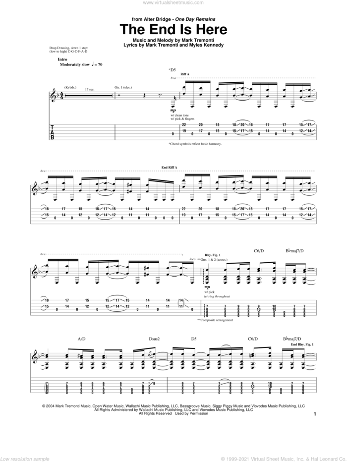The End Is Here sheet music for guitar (tablature) by Alter Bridge, Mark Tremonti and Myles Kennedy, intermediate skill level