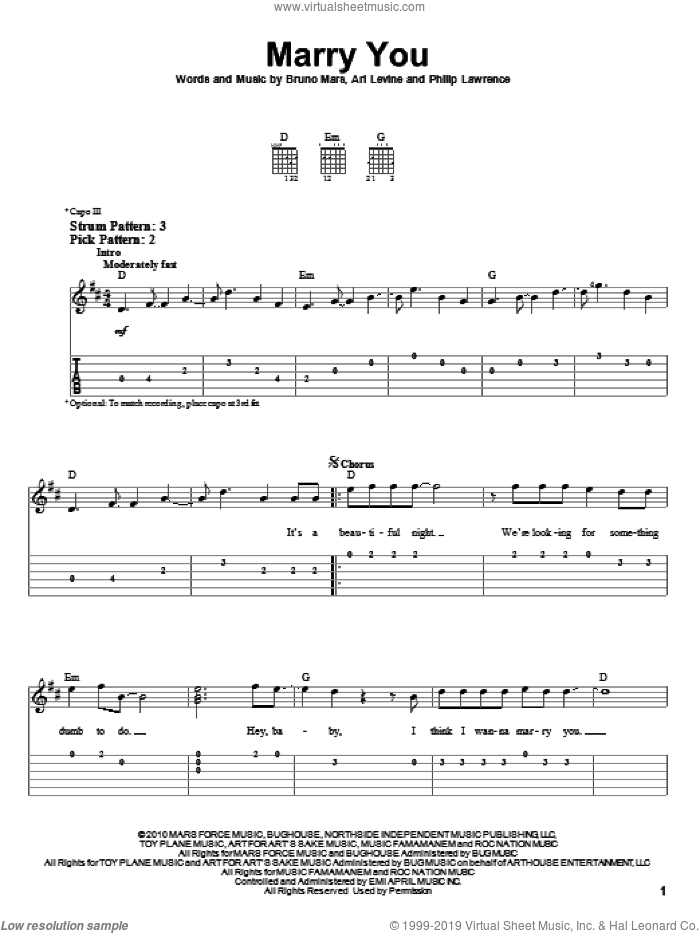 Marry You sheet music for guitar solo (easy tablature) by Bruno Mars, Ari Levine and Philip Lawrence, easy guitar (easy tablature)