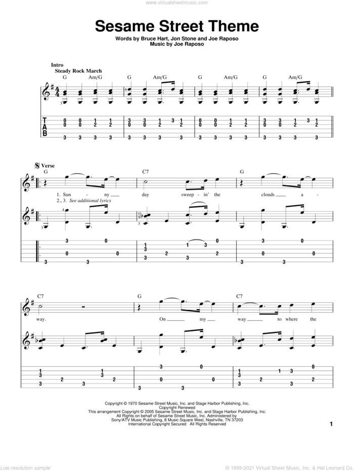 Sesame Street Theme sheet music for guitar solo by Joe Raposo, Bruce Hart and Jon Stone, intermediate skill level