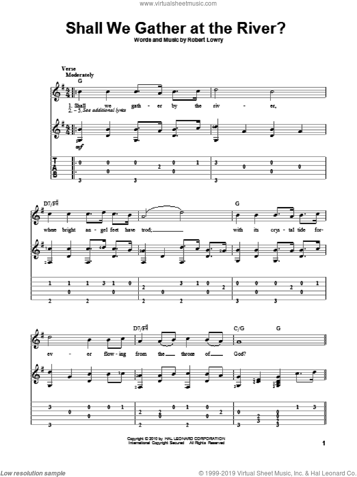 Shall We Gather At The River? sheet music for guitar solo by Robert Lowry, intermediate skill level