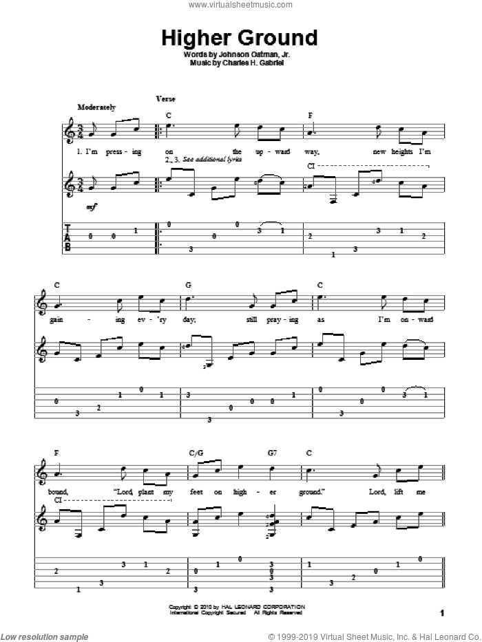Higher Ground sheet music for guitar solo by Johnson Oatman, Jr. and Charles H. Gabriel, intermediate skill level