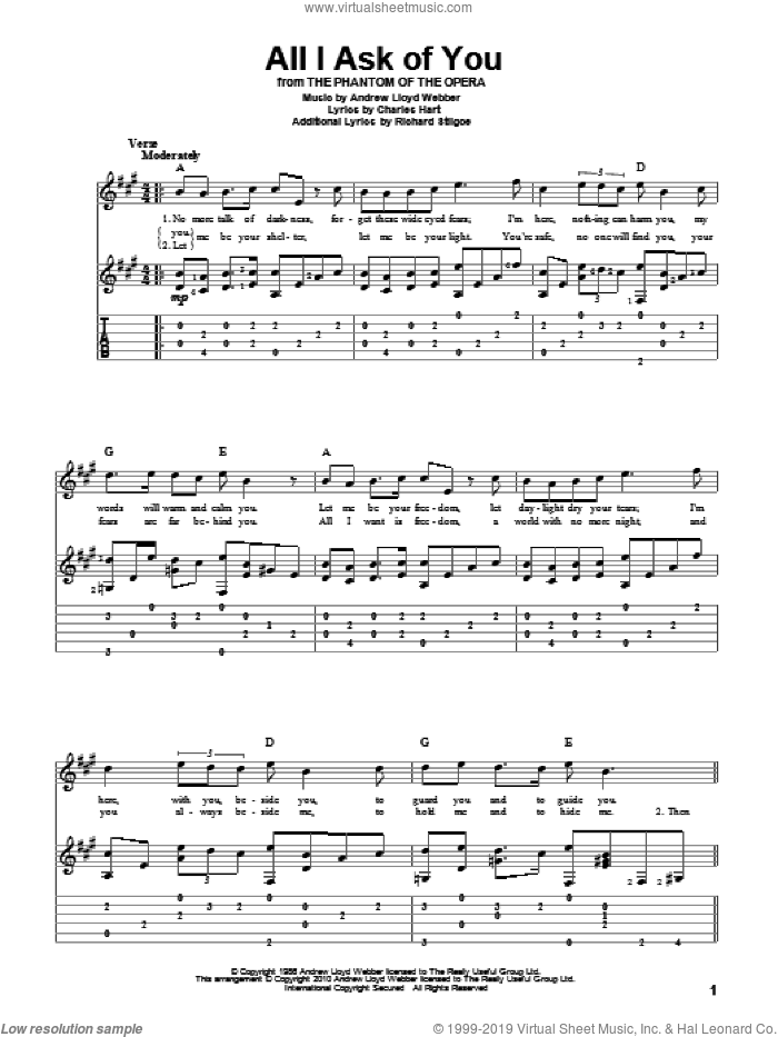 All I Ask Of You (from The Phantom Of The Opera) sheet music for guitar solo by Andrew Lloyd Webber, The Phantom Of The Opera (Musical), Charles Hart and Richard Stilgoe, wedding score, intermediate skill level