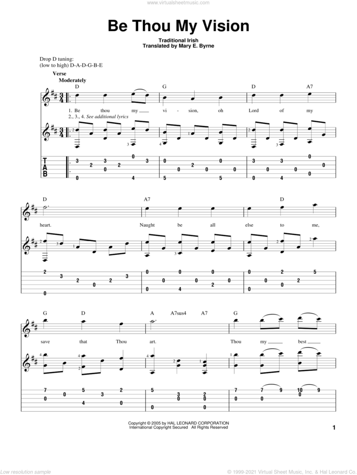 Be Thou My Vision sheet music for guitar solo by Mary E. Byrne and Traditional Irish, intermediate skill level