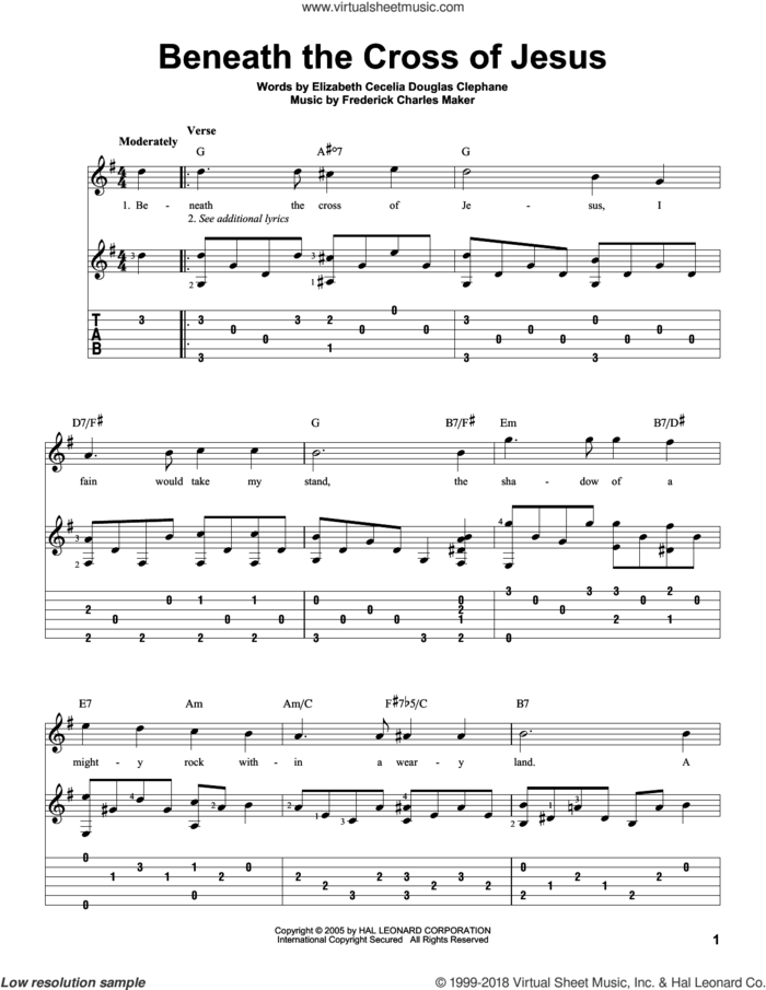 Beneath The Cross Of Jesus sheet music for guitar solo by Elizabeth Cecilia Dou Clephane and Frederick Charles Maker, intermediate skill level