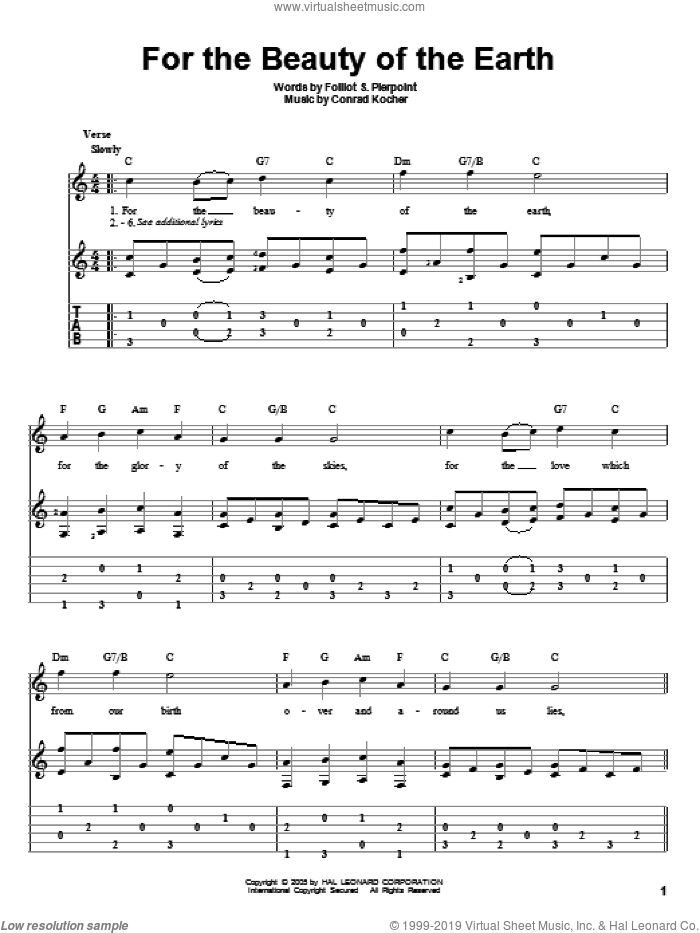 For The Beauty Of The Earth sheet music for guitar solo by Folliot S. Pierpoint and Conrad Kocher, intermediate skill level