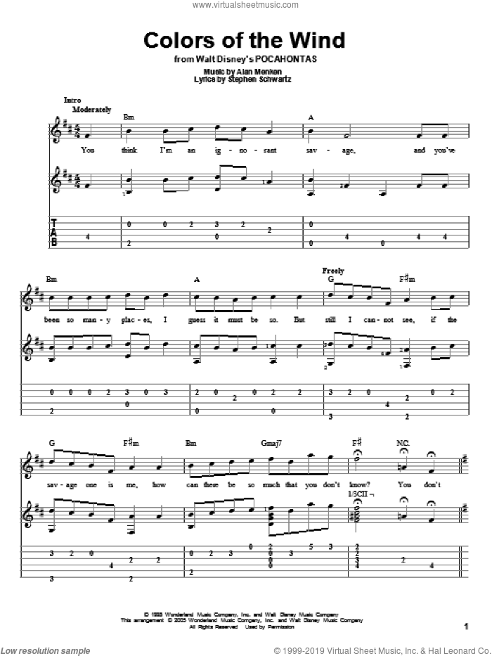 Colors Of The Wind sheet music for guitar solo by Alan Menken, Vanessa Williams and Stephen Schwartz, intermediate skill level