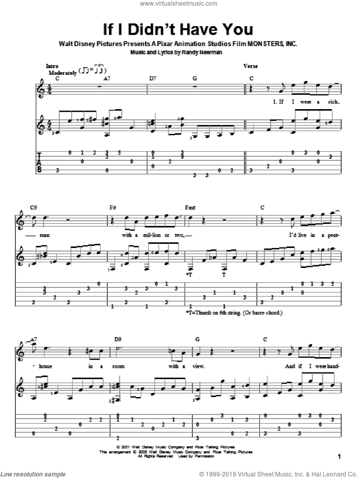 If I Didn't Have You (from Monsters, Inc.) sheet music for guitar solo by Billy Crystal and John Goodman, Monsters, Inc. (Movie) and Randy Newman, intermediate skill level