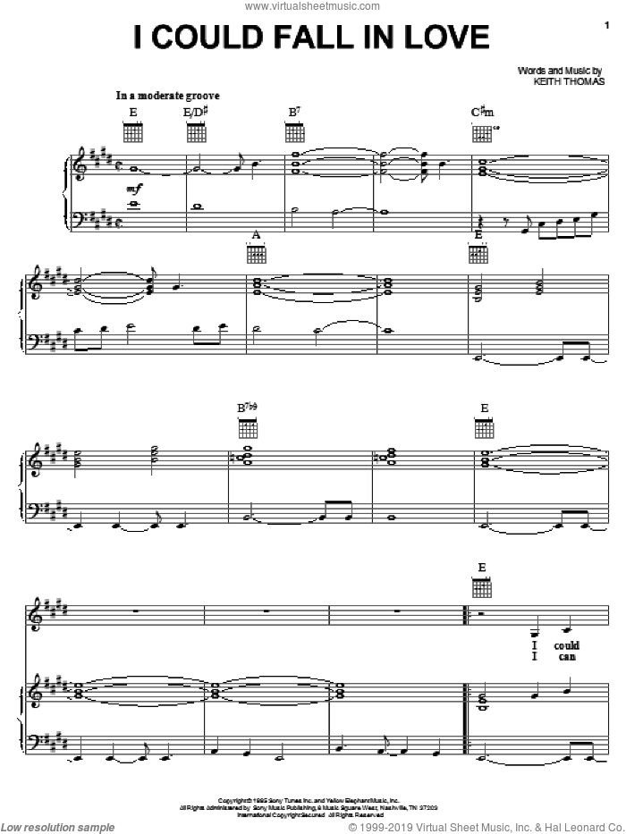I Could Fall In Love sheet music for voice, piano or guitar by Selena and Keith Thomas, intermediate skill level