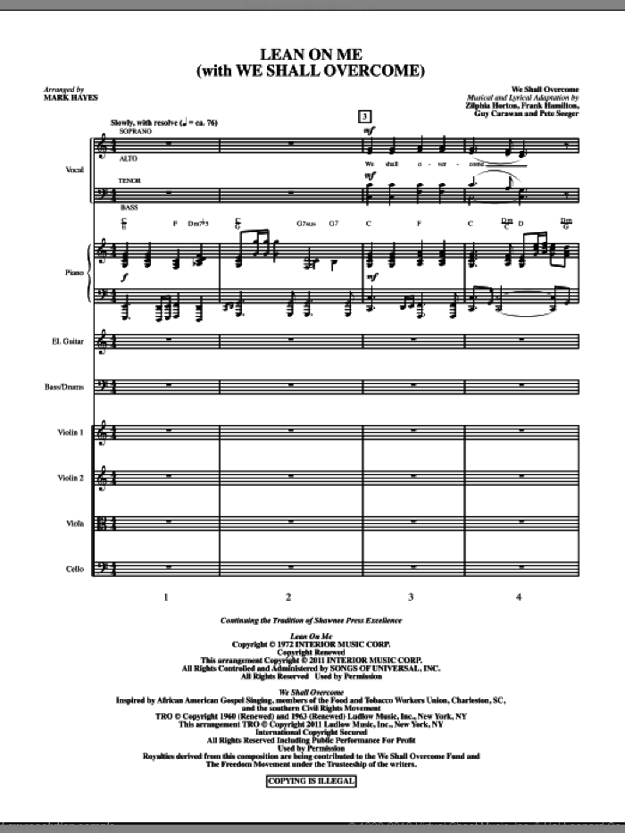 Lean On Me (With We Shall Overcome) (complete set of parts) sheet music for orchestra/band (Orchestra) by Pete Seeger, Frank Hamilton, Guy Carawan, Zilphia Horton, Bill Withers and Mark Hayes, intermediate skill level