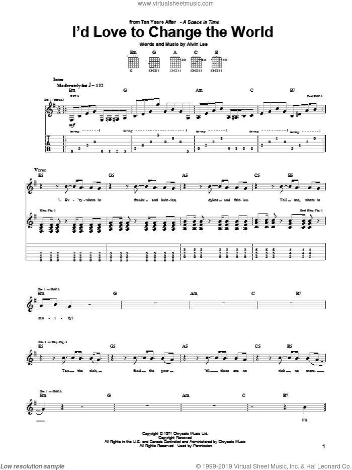 I'd Love To Change The World sheet music for guitar (tablature) by Ten Years After and Alvin Lee, intermediate skill level