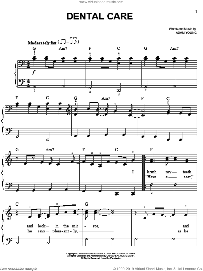 Dental Care sheet music for piano solo by Owl City and Adam Young, easy skill level