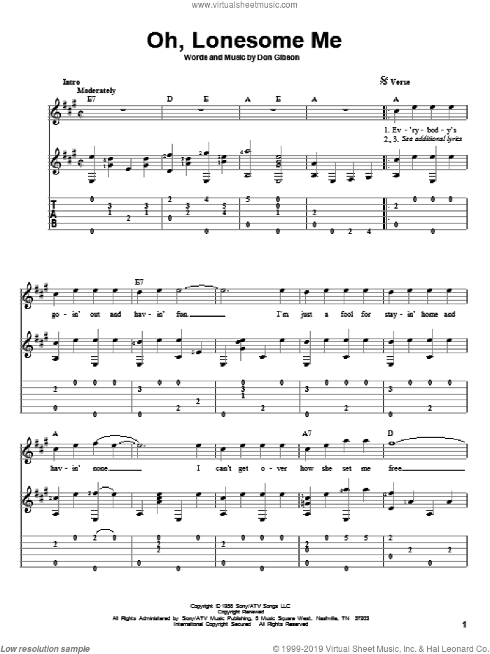Oh, Lonesome Me sheet music for guitar solo by Don Gibson and Neil Young, intermediate skill level