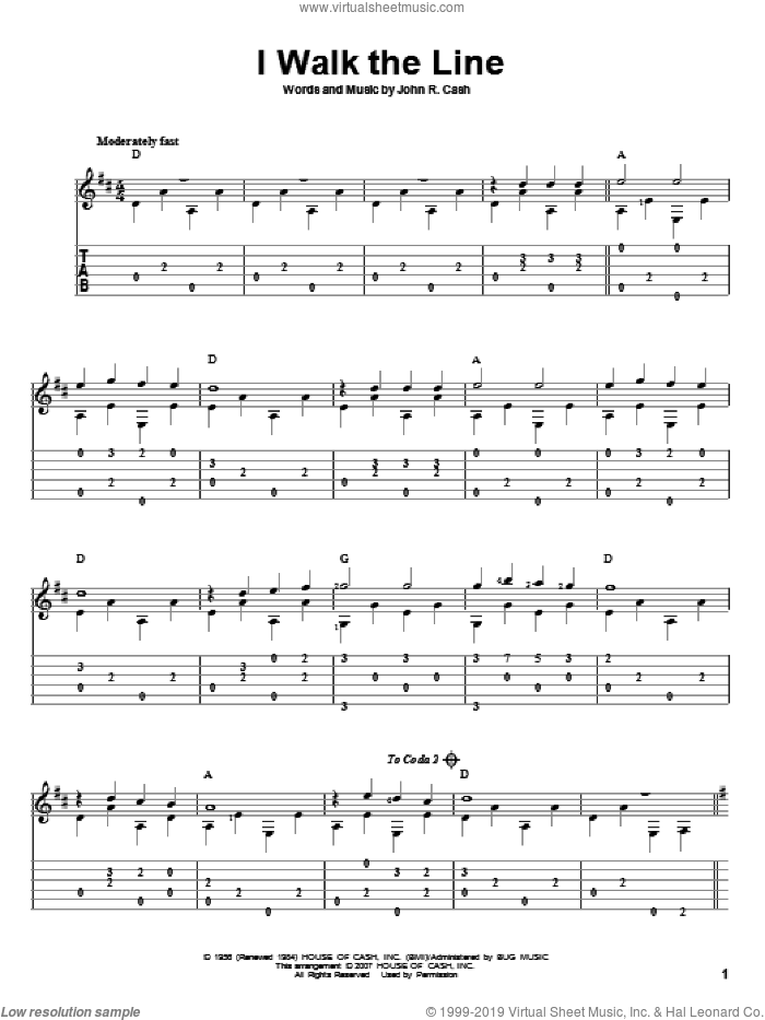 I Walk The Line sheet music for guitar solo by Johnny Cash and David Hamburger, intermediate skill level