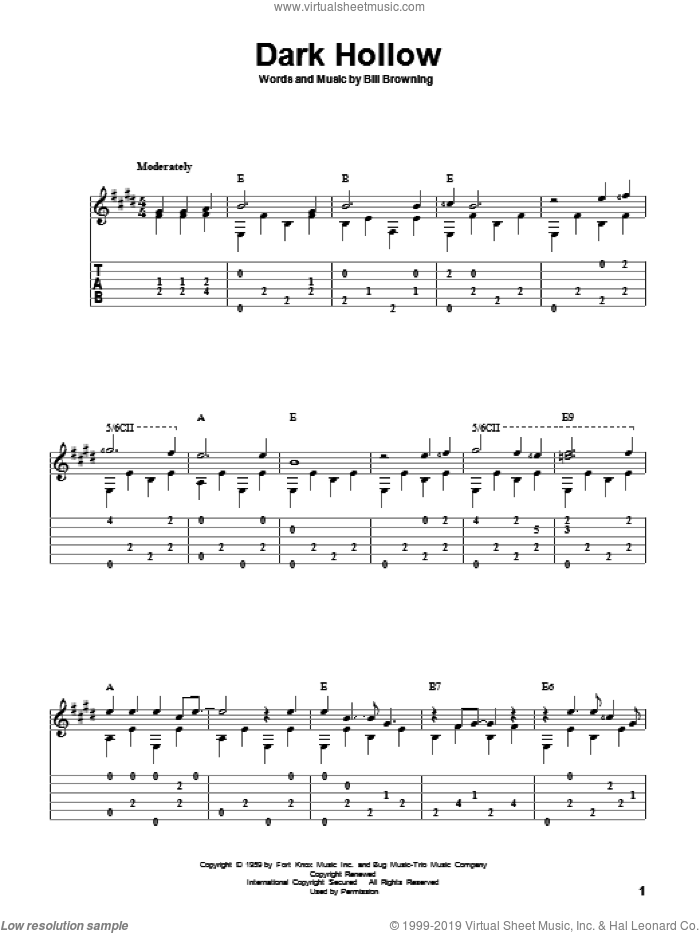 Dark Hollow sheet music for guitar solo by Grateful Dead, David Hamburger and Bill Browning, intermediate skill level