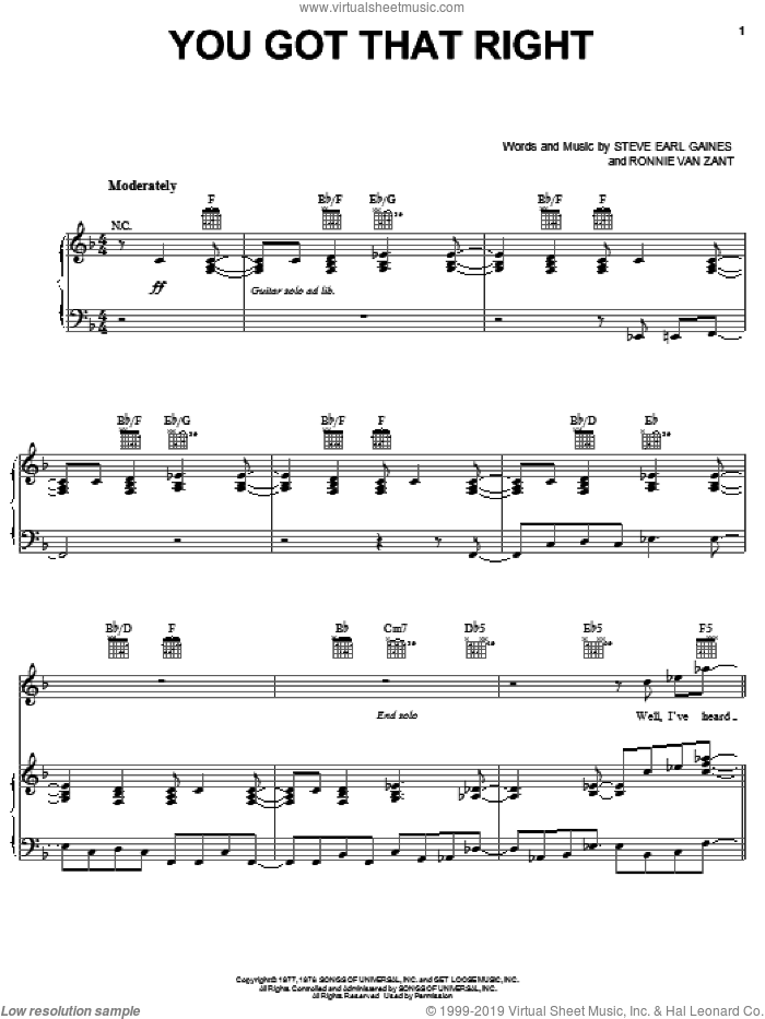 You Got That Right sheet music for voice, piano or guitar by Lynyrd Skynyrd, Ronnie Van Zant and Steve Gaines, intermediate skill level