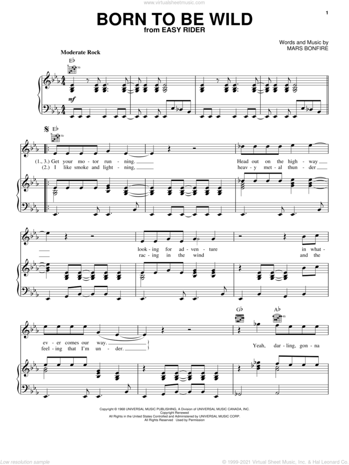 Born To Be Wild sheet music for voice, piano or guitar by Steppenwolf, John Kay and Mars Bonfire, intermediate skill level
