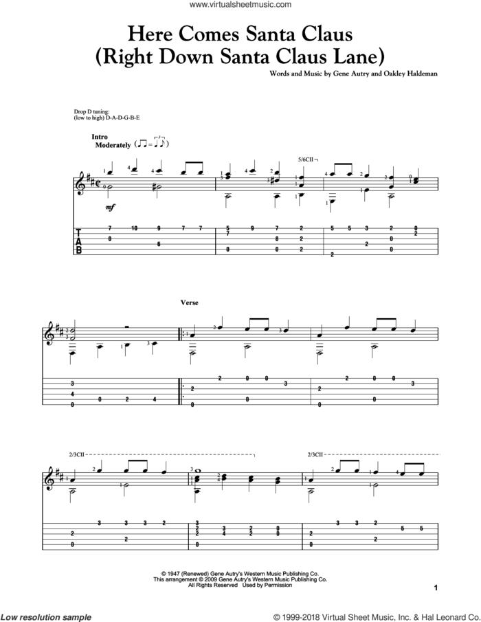 Here Comes Santa Claus (Right Down Santa Claus Lane), (intermediate) sheet music for guitar solo by Gene Autry and Oakley Haldeman, intermediate skill level