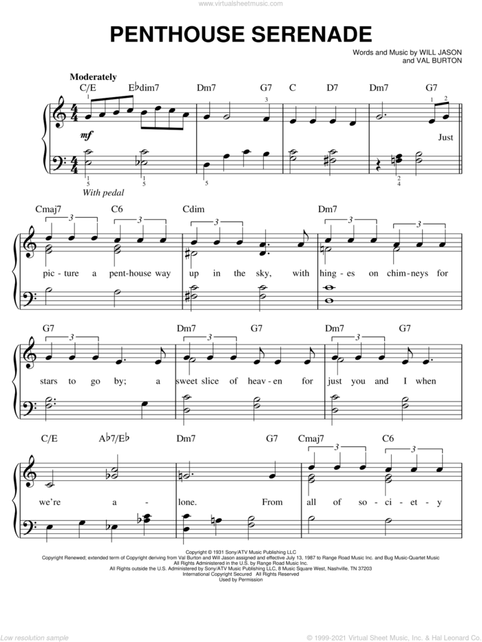 Penthouse Serenade sheet music for piano solo by Nat King Cole, Val Burton and Will Jason, easy skill level