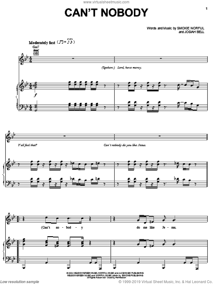 Can't Nobody sheet music for voice, piano or guitar by Smokie Norful and Josiah Bell, intermediate skill level