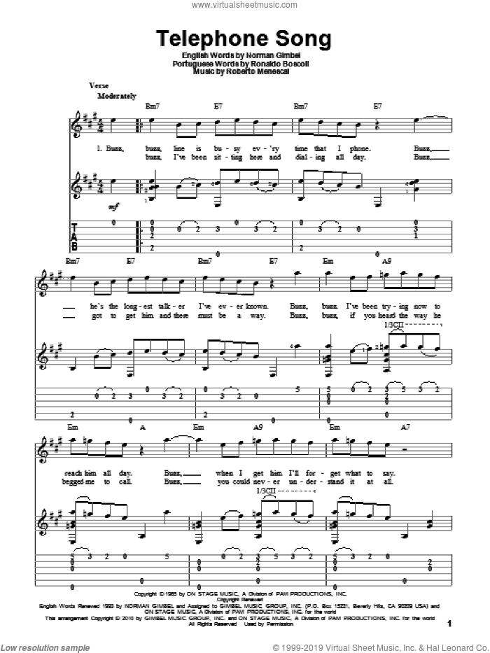 Telephone Song sheet music for guitar solo by Norman Gimbel, Roberto Menescal and Ronaldo Boscoli, intermediate skill level